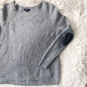 J.CREW grey wool sweater leather elbow patches